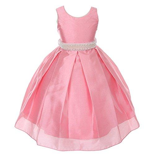 Silk Shantung Flower Girl Dresses - My Best Kids Little Girls Coral Pearl Adorned Waist Silk Shantung Flower Girl Dress 5/6