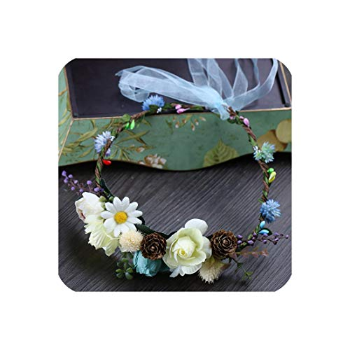 Party Floral Garlands Bride Headdress Flower Hair Band Beach Photography Jewelry Blue Wreaths Flower For Women ()