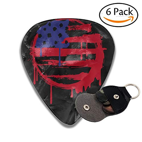 American Flag Graffiti Celluloid Guitar Picks Plectrums Guitar Bass Accessories, 6 Pack.96mm ()