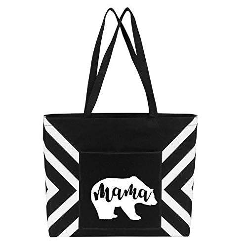 (Mama Bear Large Tote Bag with Single Pocket - Perfect Birthday Gift for Mom, Women, Wife)