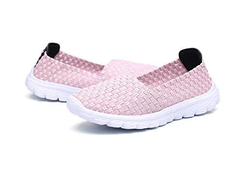 XIE Verano Señoras Plana Transpirable Tejidos a Mano Zapatos Deportivos Deslizamiento en los Zapatos Perezoso, 37 37|pink