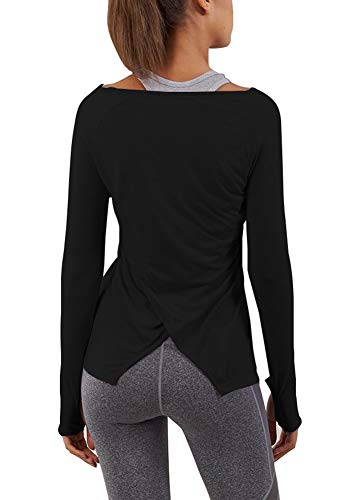 Bestisun Women's Workout Yoga Long Sleeve Top Split Back Sport T-Shirts with Thumb Holes – DiZiSports Store