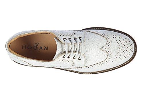 Hogan chaussures à lacets classiques homme en cuir derby route vintage blanc