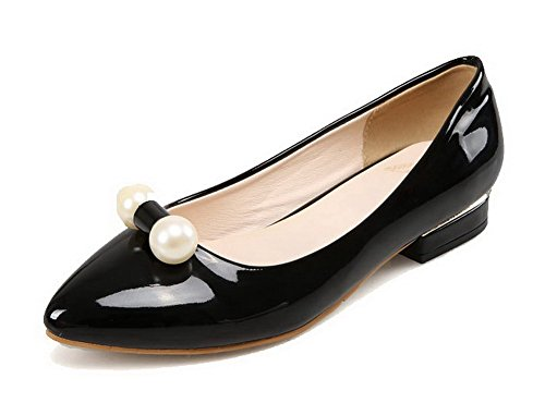 VogueZone009 Women's Pull-On No-Heel PU Solid Pointed Closed Toe Flats Shoes Black oq47u0SnG