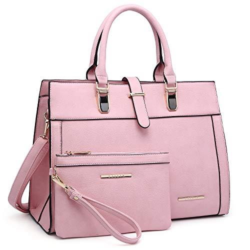 Women Satchel Ladies Top Handle Shoulder Bag Work Purse 2 Pieces Set Handbag Faux Leather (Pink)