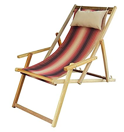 Hangit Easy Deck Wooden Recliner Chair For Home (Terracota Stripes)