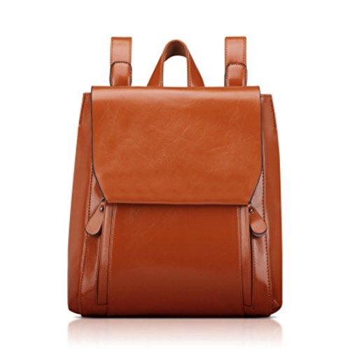 Brown PU Travel Shoulder Ladies Backpack Bag 02 Fashion SchoolBag Rucksack Vintage Leather Women pPR1qn01