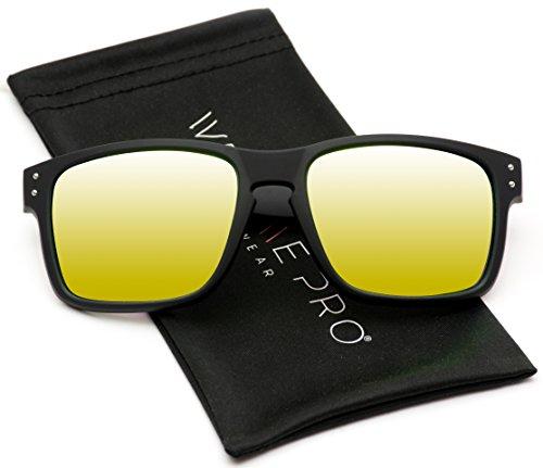 WearMe Pro - Square Matte Frame Mirrored Lens Active Sport Rectangular UV Men Sunglasses (Yellow, - Shop Bass Sunglasses Pro