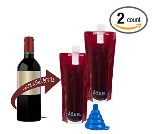 Foldable wine bottle - 2 Pack Jokel plastic reusable collapsible 750ml wine flasks holds an entire bottle of wine & includes easy-pour funnel