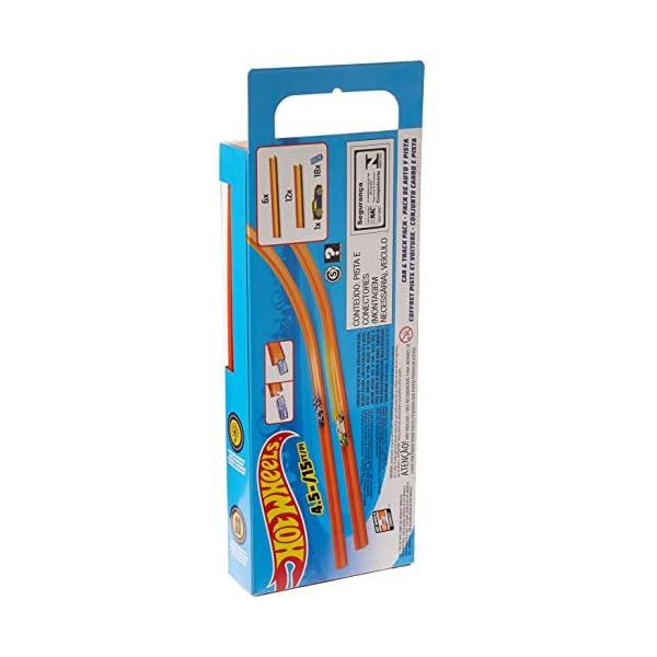 Hot Wheels- Track Builder Confezione da 15 Rettilinei e Veicolo Incluso, Multicolore, BHT77 2 spesavip