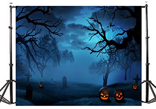 TMOTN 10x10ft Halloween Backgrouds Night Horrible Yard Tombstone Backdrop for Holloween Party for Children Celebration Photography Studio Photo D1953 for $<!--$49.99-->
