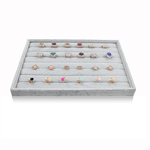 BOCAR Grey Velvet Ring Jewelry Display Showcase Organizer Holder (GP-JZ) -