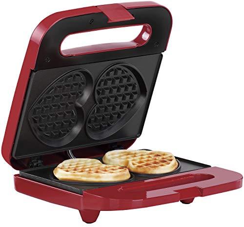 Holstein Housewares HF-09041R Heart Waffle Maker, Red Stainless Steel