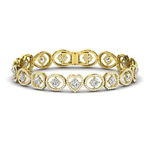 (Silvercz Jewels Solid 14K Yellow Gold Fn 6.05Ct Round Cut Sim Diamond Heart Link Tennis Bracelet)