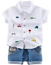 BAOBAOLAI camiseta estampada para meninos e bebês + calça jeans curta, para meninos de 1 a 4 anos, 2 peças de roupas