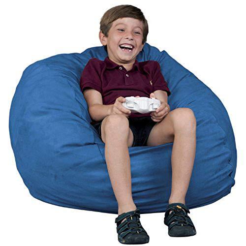 FUGU Kids Beanbag Chair, Premium Foam Filled 2 , Protective Liner Plus Removable Machine Wash Sky Blue Cover, Sky Blue