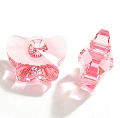 18mm 1 Charm - 1 pc Swarovski Crystal 6754 Butterfly Charm Pendant Light Pink Rose 18mm / Findings / Crystallized Element