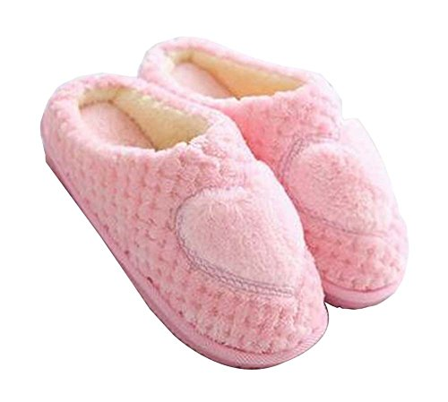 [heart Pink] Women Cosy Plush Slippers Winter Slippers Fuzzy Indoor Slippers