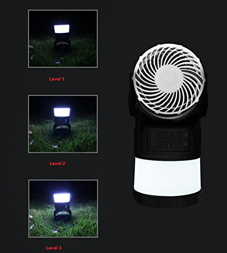Frostory Camping Lantern Lamp + Flashlight with USB Cooling Fan for Laptop Desk, 5400mAh Power Bank for Hiking and Fishing, FM Radio Mosquito Repellent Light Non Toxic, 161FS