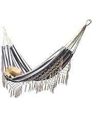bottl Canvas tassel hammock,Handmade Classic Hammock Macrame Fringe Tree Organic Cotton Hammocks Foldable Swing Bed Outdoor indoor camping hammock