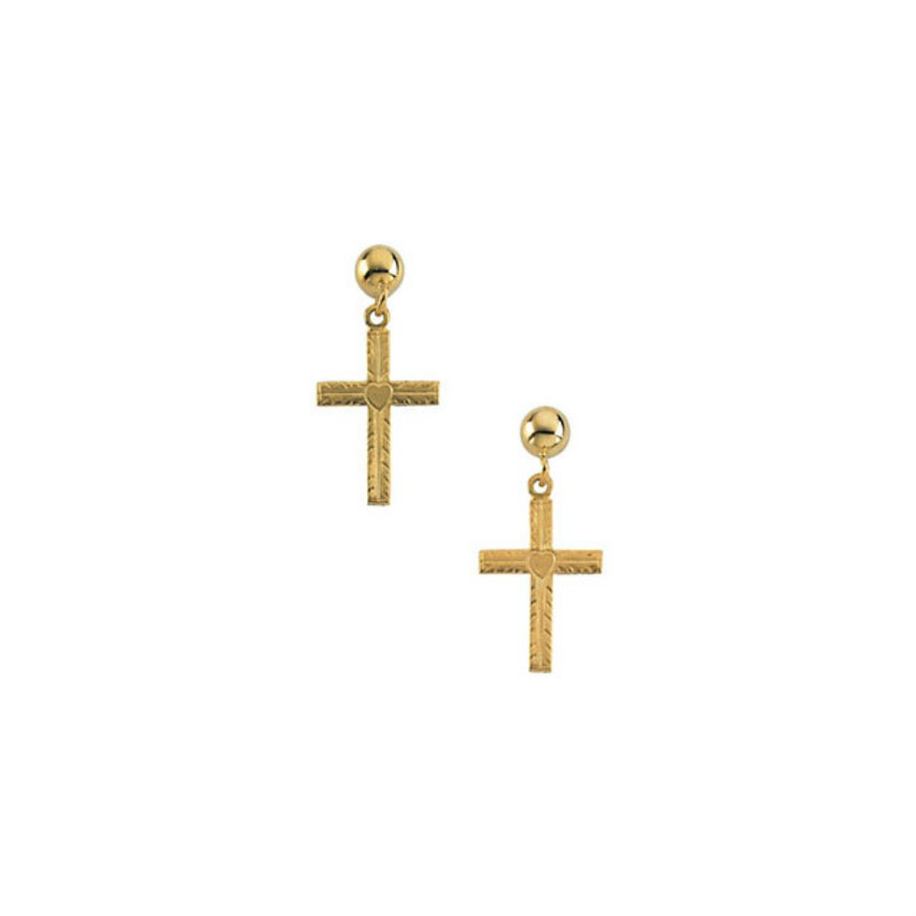 14k Yellow Gold Cross Dangle Earring