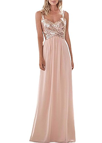 (Style A Top Sequins Rose Gold Bridesmaid Dress Long Prom Party Dresses Chiffon Size 16 )