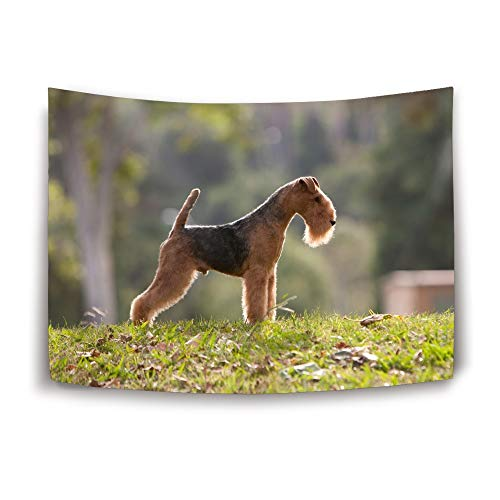 Hzhao Airedale Terrier Puppy Brown Dog Green Lawn Wall Tapestry Wall Hanging Tapestry Bedding, Multi Color Wall Art Wall Hanging (80 x 60 in)
