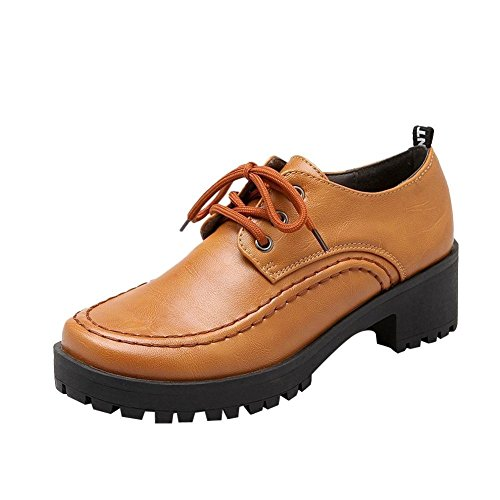 Latasa Womens Vintage Lace-up Platform Mid Chunky Heel Work Shoes Oxford Shoes yellowish brown