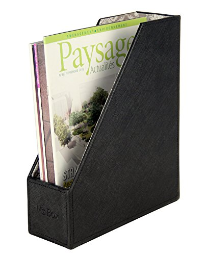 PU Leather Magazine File Document Holder Organizer, Black, 10 x 3.6 x 12 inches