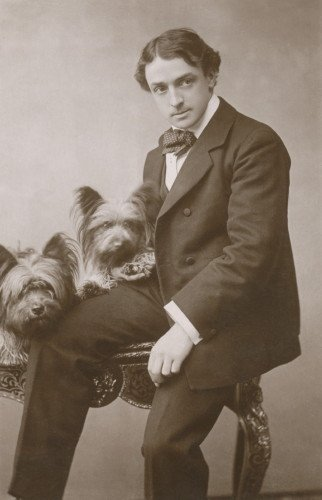 1906 Antique Photo~Man & His Two Skye Terrier Puppy Dogs~6 pack NEW Matte Vintage Picture Large Blank Note Cards with Envelopes