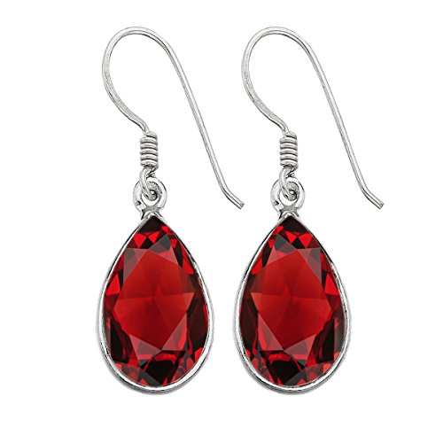 Pear Shape Simulated Garnet Dangle Earrings Oxidized Finish 925 Silver Plated Handmade Fashion Jewelry For Women Girls ()