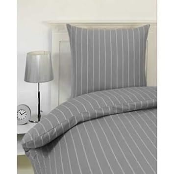 Flanell Bettwäsche Stripe Farbe Grau Weiss Gestreift Amazon