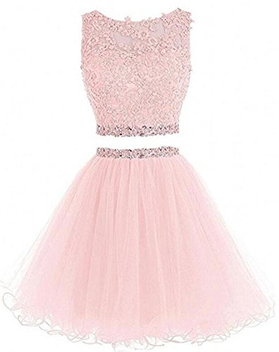 Dydsz Short Prom Dress Homecoming Party Dresses 2 Piece for Women Juniors Cocktail Gown A Line D127 Lightpink 2]()