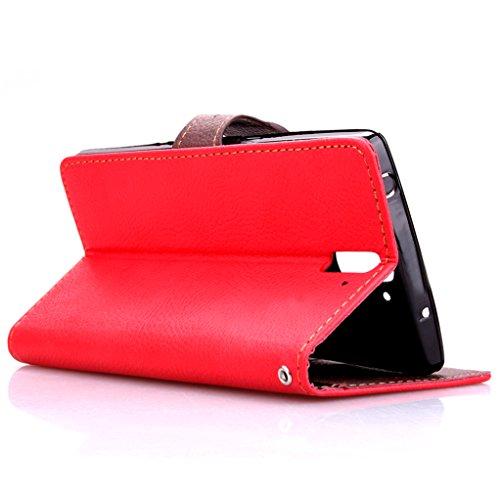Trumpshop Smartphone Carcasa Funda Protección para OnePlus One + Verde + PU Cuero Caja Protector Billetera con Cierre magnético la Ranura la Tarjeta Choque Absorción Rojo