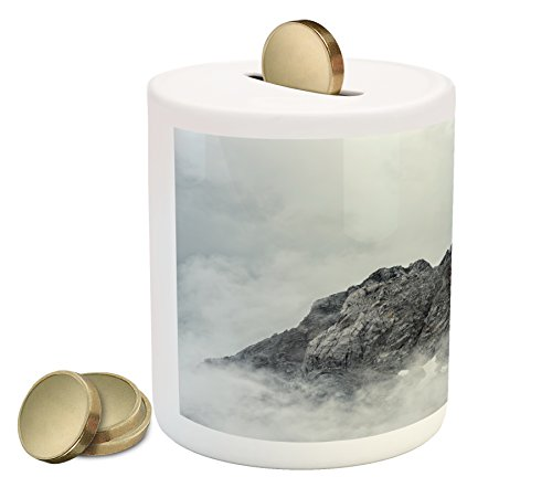(Ambesonne Mountain Piggy Bank, Landscape of Jade Dragon Mountain Atmosphere on Summit Asian Natural Beauty Image, Printed Ceramic Coin Bank Money Box for Cash Saving, White Grey)