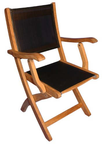 Teak Folding Chair with arms Sling Seat - PAIR by GOLDENTEAK