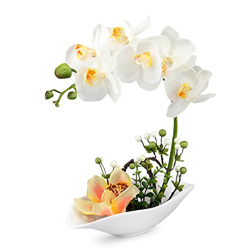 Louis Garden Artificial Silk Flowers 7 Head Simulation Phalaenopsis Bonsai (Simulation of Water) (White)