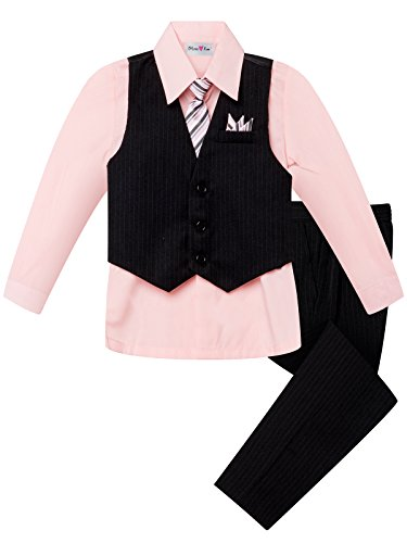 OLIVIA KOO Boy's Colored Shirt Pinstripe 4 Piece Pinstriped Vest Set Size Infant-Boy 14