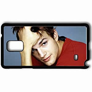 Personalized Samsung Note 4 Cell phone Case/Cover Skin Ashton kutcher actor face actors Black