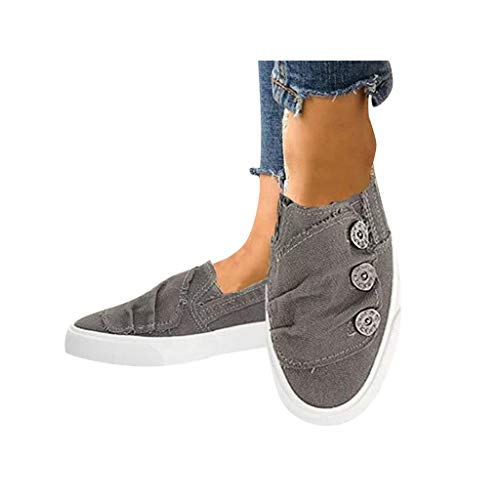 - Dressin Women Loafers Vintage Outdoor Shoes Round Toe Flat Heel Casual Walking Shoes Cowboy Canvas Fashion Sneaker Gray