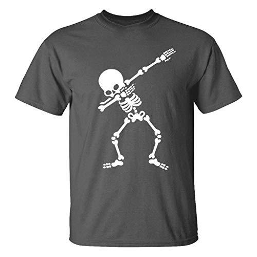 LLNONG Men 3D Skull Skeleton Printed Short Sleeve Sweatshirt Summer Fashion O-Neck T-Shirt Casual Loose Pullover Tops ()