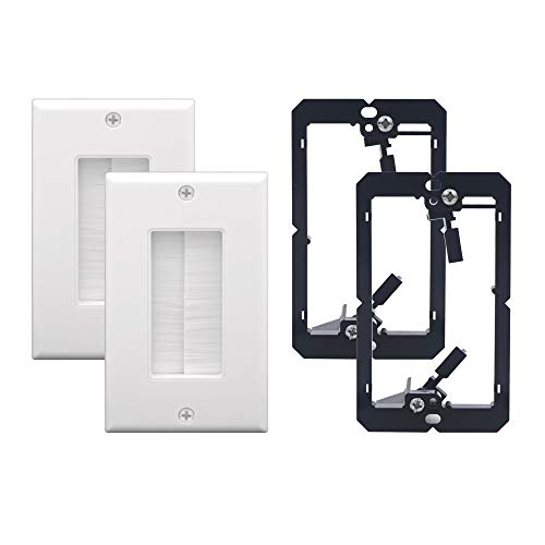 (VCE 2 Pack Single Brush Wall Plate with Single Gang Low Voltage Mounting Bracket)