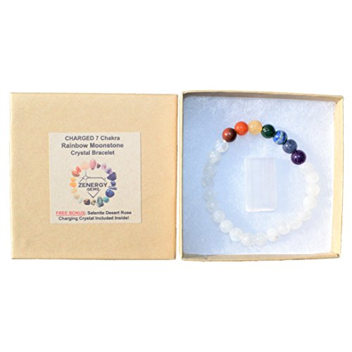 CHARGED 7 Chakra Rainbow Moonstone Crystal Bracelet Tumble Polished Stretchy (REDUCE STRESS & TENSION - COOL TEMPER & WARM HEART CENTER) [REIKI] by ZENERGY GEMS