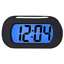 Lomanda Digital Alarm Clock,Easy Setting Kids Clock Battery Operated Desk Clock with Backlight Snooze Large LED Display Silicone Cover for Travel Bedroom, for Boys Girls Seniors Elders