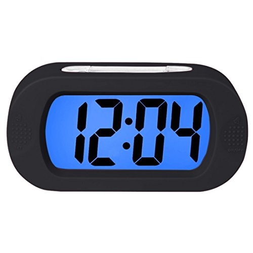Lomanda Digital Alarm clock, Easy to Set Kids Alarm Clock Battery Operated Large LED Display Clock Silicone Cover with Backlight Snooze Bedrooms Great for Kids Boys Girls (Black)