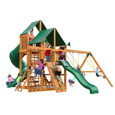 Gorillaplay Sets Home Backyard Playground Great Skye I Swing Set with Amber Posts and Sunbrella Canvas Forest Green Canopy