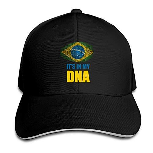 Brazil It's in My DNA Brazil Flag Classic Unisex Dad Hats Baseball Cap Black