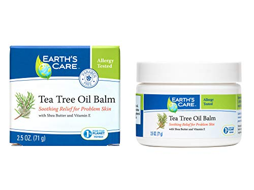 Earth's Care Tea Tree Oil Balm, No Parabens, Colors or Fragrances, Allergy-Tested 2.5 OZ.