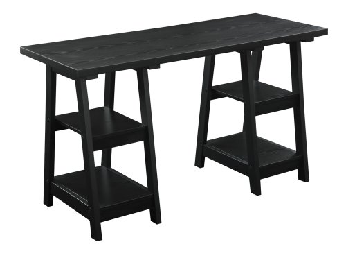 Convenience Concepts Double Trestle Desk, Black