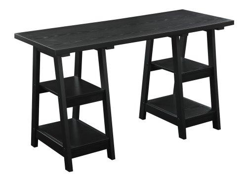 Convenience Concepts Double Trestle Desk, - Double Desk Shelves Ladder